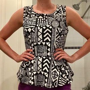 Black and White Peplum Style Shirt